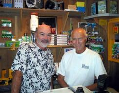 Tim Blanton and Stan Waterman at Coco View Resort, Roatan, Honduras